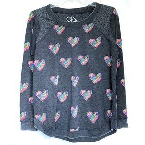 Chaser Neon Rainbow Hearts CharcoalGray Sweatshirt